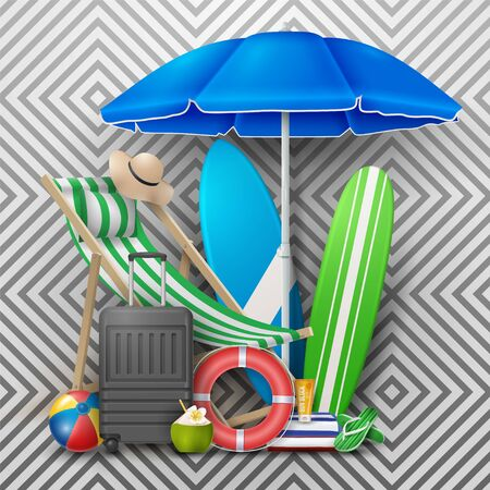 Vector Summer Holiday Illustration with Beach Ball, Palm Leaves, Surf Board and Typography Letter on Pattern Background.  イラスト・ベクター素材