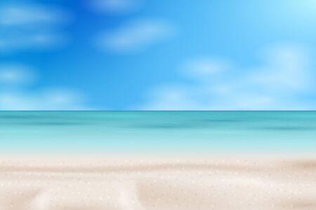 Tropical Beach landscape. Sea panorama. Vector background illustration