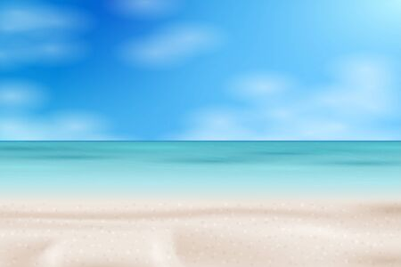 Tropical Beach landscape. Sea panorama. Vector background illustration  イラスト・ベクター素材