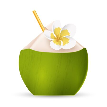 Coconut water with straw and white flower isolated on white background. Vector illustration