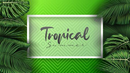 Tropical summer leaves background with jungle plants  イラスト・ベクター素材