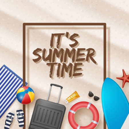 Vector Summer Holiday Illustration with Beach Ball, Palm Leaves, Surf Board and Typography Letter on Beach Sands Background.