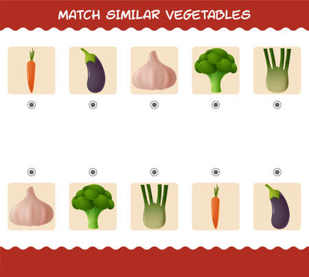 Match similar of cartoon vegetables. Matching game. Educational game for pre shool years kids and toddlers 向量圖像