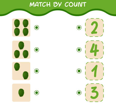 Match by count of cartoon soursops. Match and count game. Educational game for pre shool years kids and toddlers