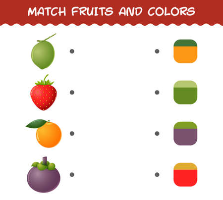 Match cartoon fruits and colors. Matching game. Educational game for pre shool years kids and toddlers Vector Illustration