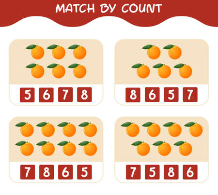 Match by count of cartoon oranges. Match and count game. Educational game for pre shool years kids and toddlers