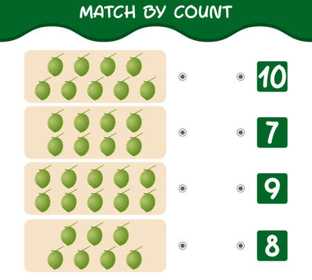Match by count of cartoon coconuts. Match and count game. Educational game for pre shool years kids and toddlers