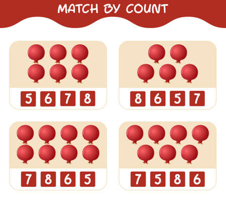 Match by count of cartoon pomegranates. Match and count game. Educational game for pre shool years kids and toddlers