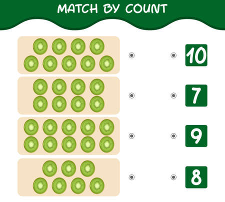 Match by count of cartoon kiwis. Match and count game. Educational game for pre shool years kids and toddlers