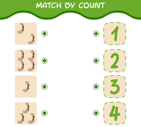 Match by count of cartoon tamarinds. Match and count game. Educational game for pre shool years kids and toddlers