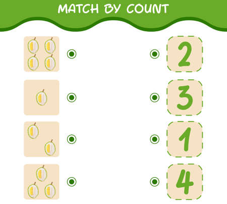 Match by count of cartoon durians. Match and count game. Educational game for pre shool years kids and toddlers