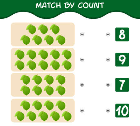 Match by count of cartoon limes. Match and count game. Educational game for pre shool years kids and toddlers