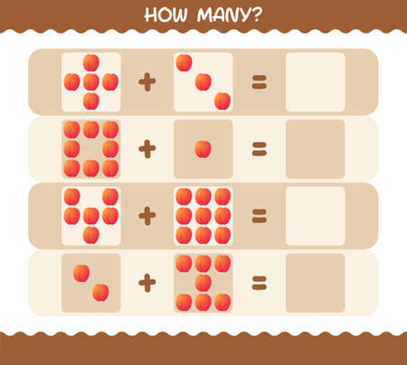 How many cartoon nectarine. Counting game. Educational game for pre shool years kids and toddlers