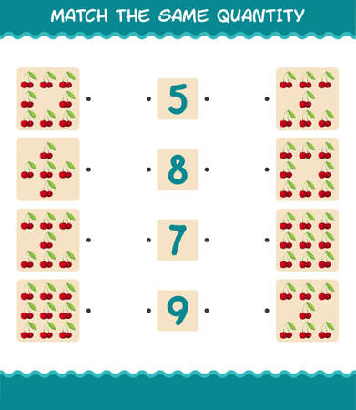 Match the same quantity of cherry. Counting game. Educational game for pre shool years kids and toddlers