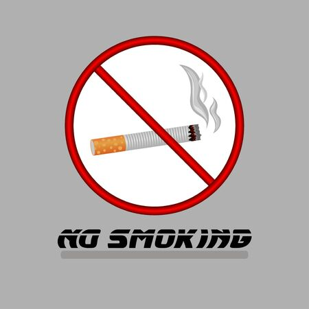 Sign of no smoking. Cigarette on a white background in a red circle. Vector illustration