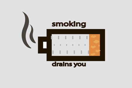Smoking is draining. Battery symbol.Cigarette Icon Vector Simple flat symbol. Perfect illustration Ilustrace