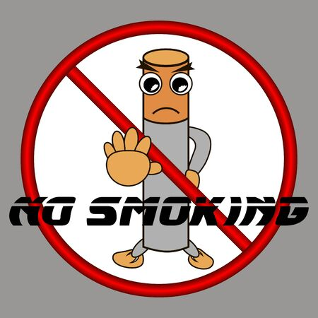 Stop, stop smoking is prohibited. vector illustration