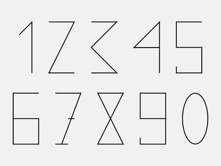 geometric figures numbers 1 2 3 4 5 6 7 8 9 0 Vector illustration modern set