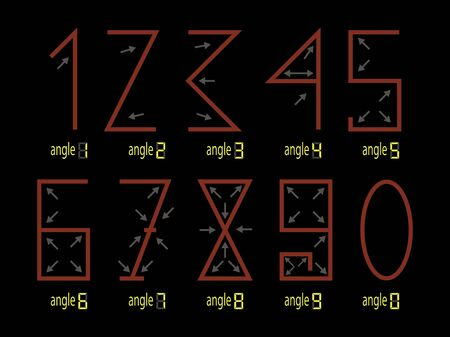 The figures of the number one two three four five five seven eight nine zero. Arrows indicate angles. vector illustration Çizim