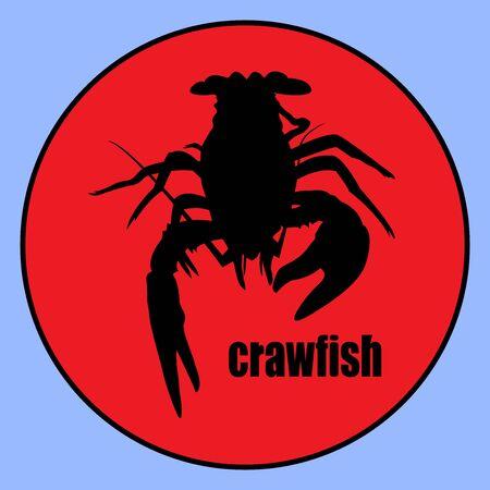 top exclusive crawfish label crawfish silhouette, crayfish icon, lobster sign, crawfish symbol Vector illustration.