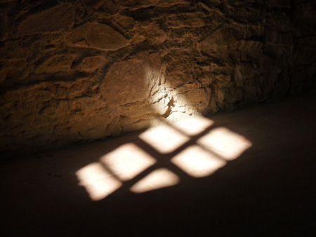 Shadow on the floor in old castle Stock Photo