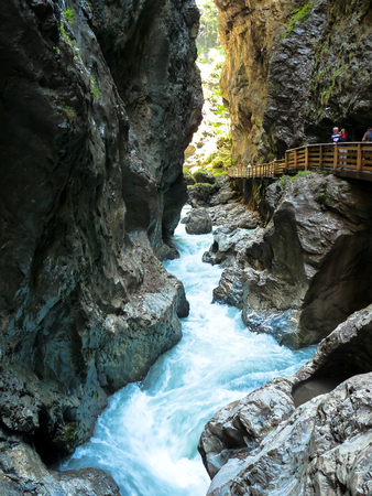 Liechtensteinklamm is a particularly narrow gorge with walls up to 300m high, located in the Austrian Alps 50 km south of Salzburg. Stock Photo