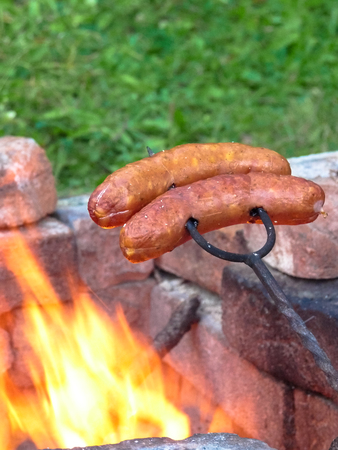 Barbecue sausages on the fire.