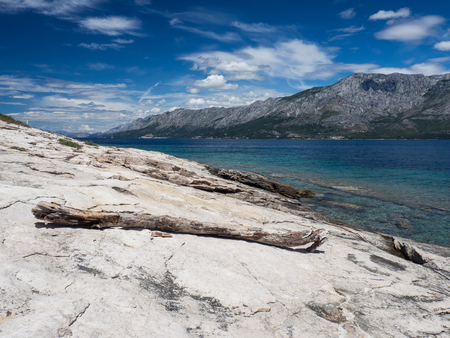 View of stone shore with dry tree branch lying on a coast, Hvar island, Croatia Archivio Fotografico