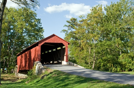 covered bridge: Pool Forge Bridge in Lancaster County,Pennsylvania.