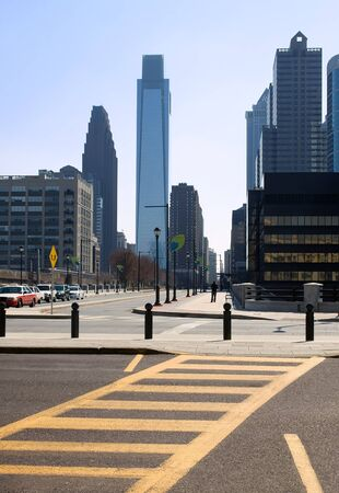 A view of Philadelphia from 30th St. & John F. Kennedy Blvd. Stock Photo