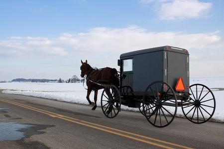 pennsylvania: An Amish carriage in Lancaster County,Pennsylvania  Stock Photo