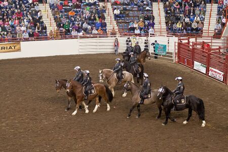 Police demonstrate horsemanship at the Farm Show Complex on January 07, 2012 in Harrisburg, Pennsylvania, USA. Editorial