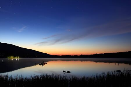 starlit: A starlit sky before sunrise at Locust Lake State Park  Stock Photo