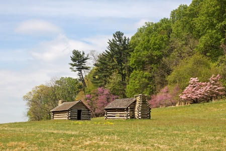 forge: Soldiers huts at Valley Forge National Park,PA,USA