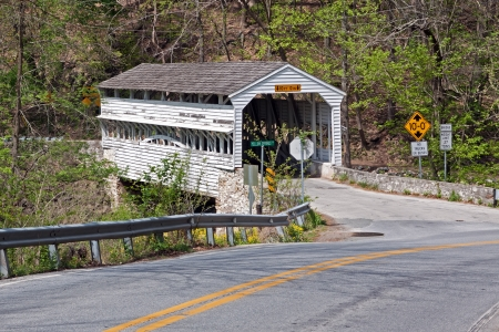 covered bridge': The Knox Covered Bridge in Valley Forge National Historical Park spans Valley Run in Chester County,Pennsylvania,USA