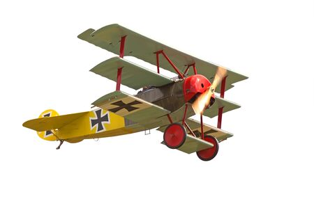 baron: A 1918 Fokker DR I triplane,World War 1 replica in flight  Editorial