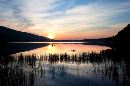 Sunrise at Locust Lake State Park,Schuylkill County,Pennsylvania,USA  Stock Photo - 14332415