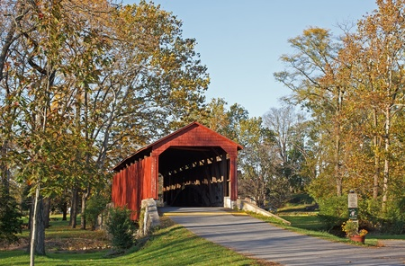 Pool Forge Covered Bridge in Autumn,Lancaster County,Pennsylvania,USA