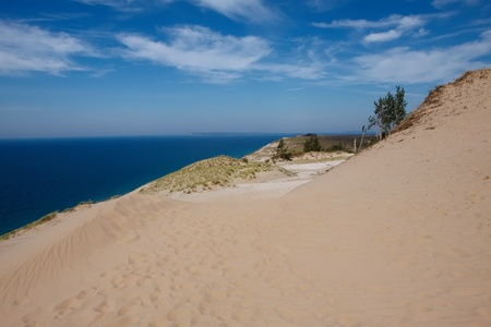 Sleeping Bear Dunes National Lakeshore on the shores of Lake Michigan,Michigan State  Stock Photo