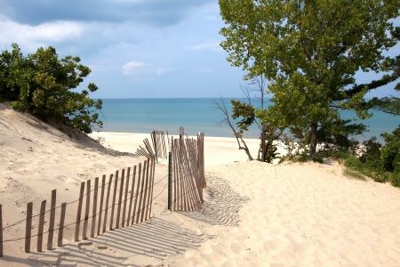 Indiana sand dunes on Lake Michigan photo