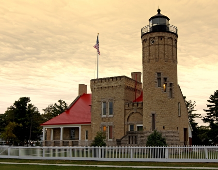 mackinac: Sunrise at the Old Mackinac Point Lighthouse located in Mackinaw City, Michigan,USA