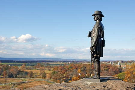historic site: The statue of Gen  G K  Warren on Little Round Top at Gettysburg National Military Park,Pennsylvania,USA  Stock Photo