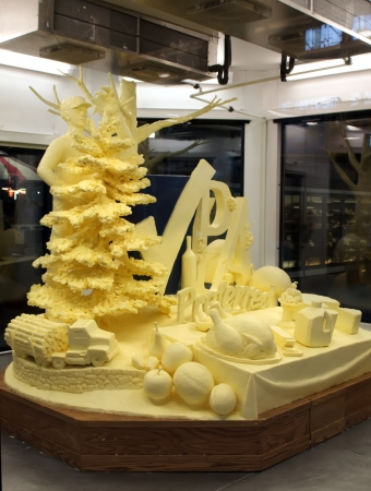HARRISBURG,PENNSYLVANIA-JANUARY 5:A life-size butter sculpture by artist Jim Victor and Marie Pelton  on display at the Farm Show Complex on January 05,2013 in Harrisburg,Pennsylvania,USA.