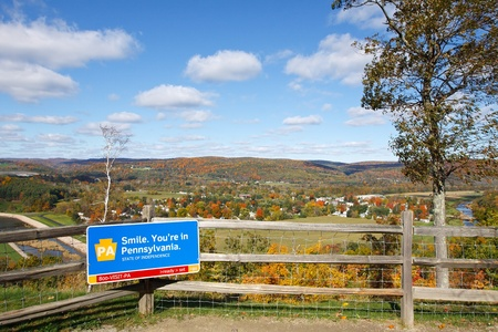 lookout: Autumn view of Tioga, from Pennsylvania Welcome Center and scenic lookout  Stock Photo