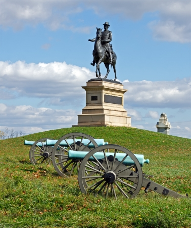 A monument to Major General Winfield Scott Hancock at Gettysburg National Military Park It was dedicated in 1896 by the Commonwealth of Pennsylvania