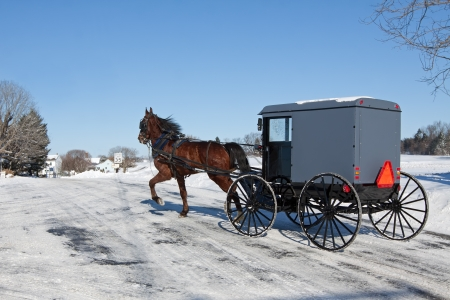 An Amish Carriage travels in snow covered Lancaster County,Pennsylvania ,USA Stockfoto