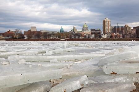 Ice breaking up on the Susquehanna River at Harrisburg, Pennsylvania, USA  Stock Photo