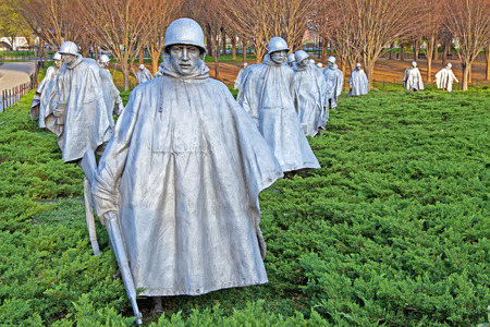 WASHINGTON - APRIL 14   The Korean War Veterans Memorial on April 14, 2014 in Washington D C  The memorial includes a group of 19 statues that depict soldiers on patrol  Editorial