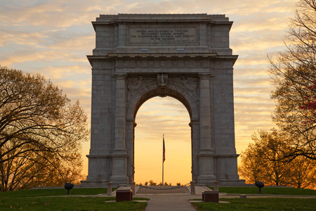 forge: The National Memorial Arch monument dedicated to George Washington and the United States Continental Army This monument is located at Valley Forge National Historical Park in Pennsylvania,USA