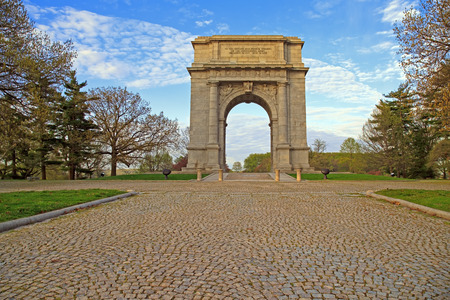 The National Memorial Arch monument dedicated to George Washington and the United States Continental Army This monument is located at Valley Forge National Historical Park in Pennsylvania,USA